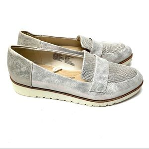Time and Tru   Leather Silver Wedge Loafer